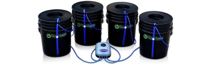 "Deep Water Culture (DWC) Hydroponic Bubbler Bucket Kit by PowerGrow® Systems (4) 5 Gallon – 10"" Buckets"